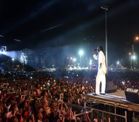 Buju Banton performs on stage in Trinidad & Tobago.
