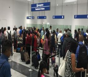 Lines at the Cheddi Jagan International Airport in Guyana