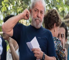 L'ex-président Lula, le 7 avril 2018 à Sao Bernardo do Campo (Etat de Sao Paulo, sud-est du Brésil)