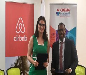 Left to right: Kellie Bentz, Head of Airbnb's Global Causes team, and Ronald Jackson, Executive Director of CDEMA.