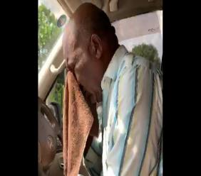 Former Deputy Superintendent, Altermoth 'Parro' Campbell reacts to being pepper sprayed by a policeman during a traffic stop.
