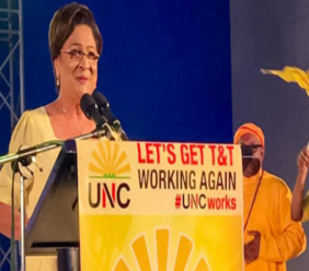Opposition leader Kamla Persad-Bissessar speaks at the UNC's Monday Night Forum on June 24, 2019. Photo via Facebook, Kamla Persad-Bissessar.