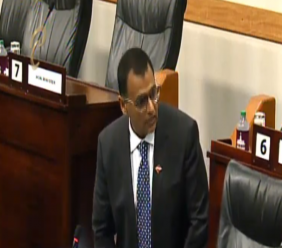 Works and Transport Minister Rohan Sinanan speaks in the Senate on June 25, 2019.