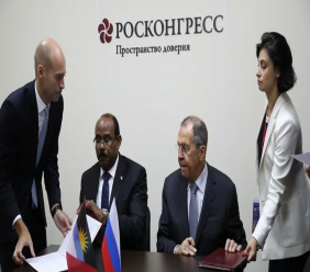 Signing ceremony in St Petersburg (from left: Julien Hansen, Honorary Consul of A&B in RF, Gaston Browne, Prime Minister of A&B and Sergey Lavrov, Minister of Foreign Affairs of RF)