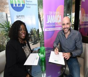 Carolyn McDonald-Riley, Director of the Tourism Linkages Network & Koen Hietbrink, General Manager of AC Hotel Kingston at the AC Hotel Kingston.