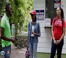 Loop News' Shanique (centre) and Paulize being given details of the Konoko Falls property by their tour guide, Sherlock.
