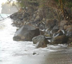 The affected beach, located in the village of Choiseul