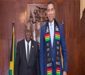 Prime Minister Andrew Holness (right) and President of the Republic of Ghana, Nana Addo Danka Akufo-Addo pose for a photo following a bilateral discussion at Jamaica House in Kingston. (Photo: OPM)