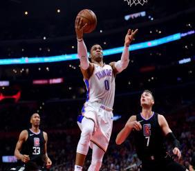 Russell Westbrook, ici le 4 janvier 2019 contre Los Angeles Clippers va être transféré par Oklahoma City à Houston.