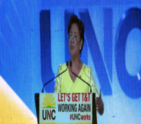 Opposition leader Kamla Persad-Bissessar speaks at the Monday Night Forum in Fyzabad on July 8, 2019.