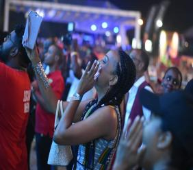 Reggae singer Alaine reacts while watch Dalton Harris perform at Reggae Sumfest Festival Night Two on Saturday. (PHOTO: Marlon Reid)