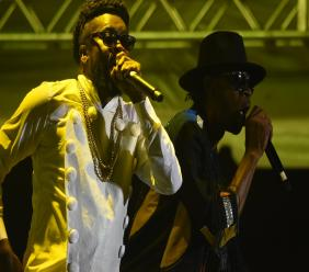 Beenie Man (left) on stage with his former rival Bounty Killer at Reggae Sumfest 2019. (PHOTOS: Marlon Reid)