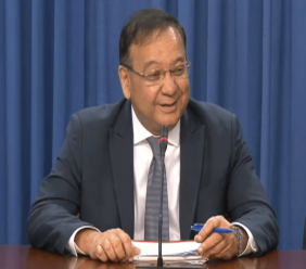 Energy Minister Franklin Khan speaks at the Post Cabinet media briefing.