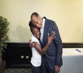 Jamila Wright from St Mary was overjoyed after finding out that she would be receiving a scholarship of $300,000 per year towards her university tuition from the NCB Foundation. She is pictured here sharing a hug with Michael Lee Chin, Chairman of NCB Financial Group.