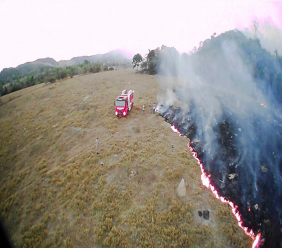 In this Aug. 20, 2019 drone photo released by the Corpo de Bombeiros de Mato Grosso, brush fires burn in Guaranta do Norte municipality, Mato Grosso state, Brazil. Brazil's National Institute for Space Research, a federal agency monitoring deforestation and wildfires, said the country has seen a record number of wildfires this year. (Corpo de Bombeiros de Mato Grosso via AP)
