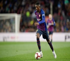 L'attaquant du FC Barcelone Ousmane Dembélé lors de la réception du Real Madrid le 20 avril 2019