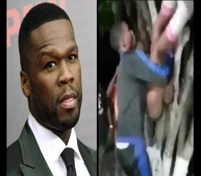 50 cent (left) was left open-mouthed after viewing a video of a Jamaican man dancing with a woman at a street dance.