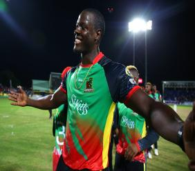 Carlos Brathwaite captain of St Kitts and Nevis Patriots celebrates after the Hero Caribbean Premier League match against defending champions Trinbago Knight Riders at Warner Park Sporting Complex on Tuesday, September 17, 2019 in Basseterre, St Kitts. (Photo by Ashley Allen - CPL T20/Getty Images).