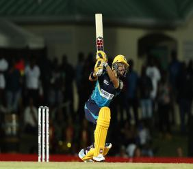 JP Duminy of Barbados Tridents plays an attacking shot during the Hero Caribbean Premier League match against St Kitts Nevis Patriots  at the Warner Park Sporting Complex on September 11, 2019 in Basseterre, St Kitts. (Photo by Ashley Allen - CPL T20/CPL T20 via Getty Images).