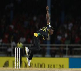Andre Russell of Jamaica Tallawahs in action against Trinbago Knight Riders on Friday, September 6 at the Queen's Park Oval.
