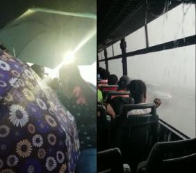 Some commuters were seen with umbrellas open as they attempted to stave off the rain while some seats were vacated as they were in the direct path of the downpour.