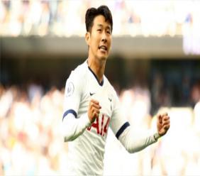Son Heung-min celebrates for Tottenham.