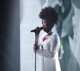 La chanteuse haïtienne, Yama Laurent, gagnante de l'édition 2018 du concours La Voix au Québec./ Photo: Thierry du Bois/OSA images et TVA