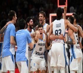 La joie des Argentins, vainqueurs des Français en demi-finales du Mondial, le 13 septembre 2019 à Pékin