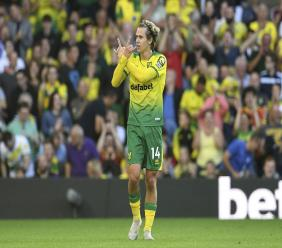 Norwich City's Todd Cantwell celebrates scoring his side's second goal of the game during the English Premier League football match against Manchester City at Carrow Road, Norwich, England, Saturday, Sept. 14, 2019. (Joe Giddens/PA via AP).