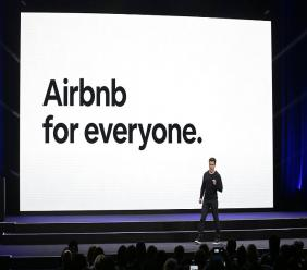 Airbnb co-founder and CEO Brian Chesky speaks during an event in San Francisco in February. (AP Photo)