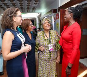 Chorvelle Johnson Cunningham (right), Sagicor Bank CEO, engages in conversation with Valerie Veira (second right), CEO, Jamaica Business Development Corporation (JBDC), and (from left) Ashley Codner, Project Cordinator, Jamaica Environment Trust and Gale Jean-Baptist, Head of Human Resources Unit, Organisation of Eastern Caribbean States.