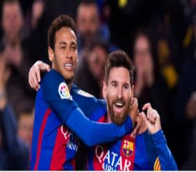 Neymar and Lionel Messi celebrate for Barcelona.