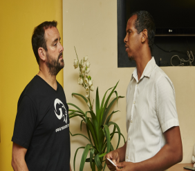 Ravi Renie, President of the T&T Goat and Sheep Society, on right, chats with James Whetlor who popularised Goatober.