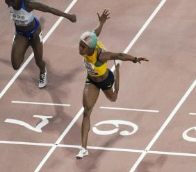 Shelly-Ann Fraser-Pryce in triumph at the recent World Championships in Doha, Qatar.