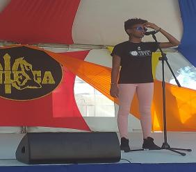 Cindy Marshall performing at Art in the City earlier on Saturday