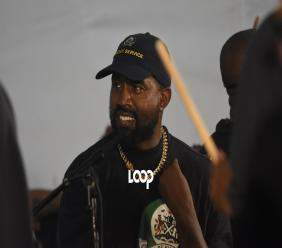 Kanye West enjoying the vibe at his Sunday Service inside the Emancipation Park in Kingston on Friday. (Photo: Marlon Reid)