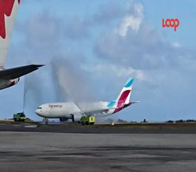 Eurowings receives a water salute in Barbados