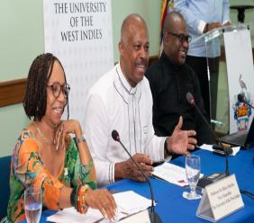From left to right: Professor Eudene Barriteau of the Cave Hill Campus; Vice-Chancellor, of The UWI,Professor Sir Hilary Beckles and Pro-Vice-Chancellor Densil Williams at a media briefing to announce the rankings in Barbados last week.