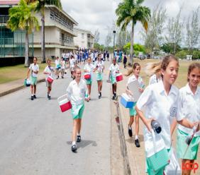 Students after sitting the 11-plus at the Lester Vaughan Secondary School (FILE)