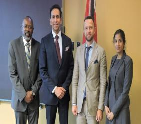 From left to right: Acting Director of the Financial Intelligence Unit Nigel Stoddard; Attorney General Faris Al-Rawi; Adviser to the Global Programme against Money Laundering, Proceeds of Crime and the Financing of Terrorism (GPML), Yevheniy Umanets;  Head of Anti-terrorism Unit Vyana Sharma.