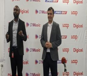 Colin Greaves, Communications, Sponsorship and Events Executive (L) and Jabbor Kayumov, CEO, Digicel Trinidad and Tobago (R) address the media at a press conference held on Monday 11 November.