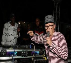 Veteran British DJ David Rodigan at the turntables at Dubwise on Saturday.
