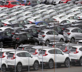 In this July 8, 2019, photo, Honda cars wait to be exported at Yokohama port, near Tokyo. (AP Photo/Koji Sasahara)