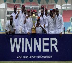 West Indies celebrate after completing a nine-wicket rout of Afghanistan on day three of the one-off Test in Lucknow.