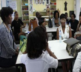 Fashion designers listen attentively at a Caribbean Export Development Agency workshop.