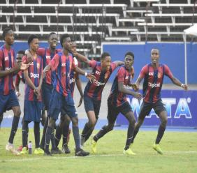 St Andrew Technical High School (STATHS) players celebrate after defeating Wolmer's Boys 4-2 on penalties in semi-final one of the 2019 ISSA/Digicel Manning Cup football competition at the National Stadium in Kingston on Wednesday, November 20, 2019. (PHOTO: Marlon Reid).