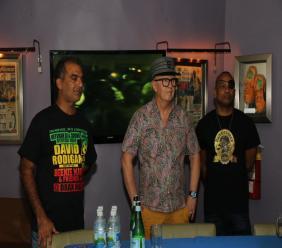 DJs David Rodigan (left) and Delano (right) with Kaya Herb House's Balram Vaswani at the launch of Dubwise.