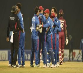 Afghanistan celebrate beating West Indies.