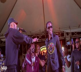 Cham (left) gestures at fellow dancehall veteran Bounty Killer on stage at Coppershot's 25th Anniversary celebration on Saturday. (Photos: Shawn Barnes)