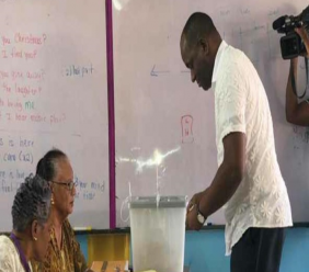 Prime Minister Roosevelt Skerrit casting his vote in today's General Elections. Counting of the ballots are underway
